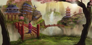 мост, водопал, радуга, город