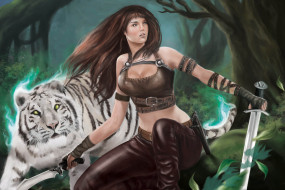 девушка, оружие, фон, тигр