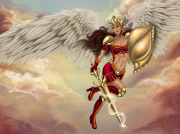 крылья, меч, щит, девушка, взгляд, фон