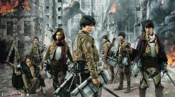 Shingeki No Kyojin, город, развалины, девушки, парни, титан, оружие