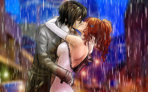 аниме, bleach, дождь, парень, девушка, поцелуй
