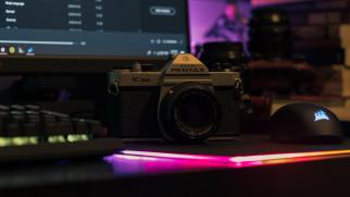компьютер, стол, фотоаппарат, камера