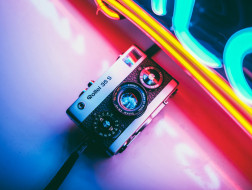 неон, камера, фотоаппарат