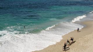 море, берег, пляж, люди, серфы