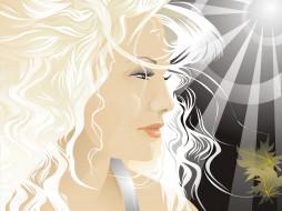векторная графика, девушки , girls, девушка, блондинка, лицо, лучи