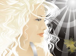 блондинка, девушка, лицо, лучи