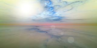 облака, море