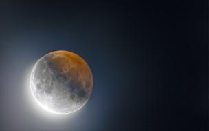 космос, луна, затмение