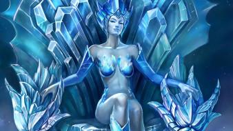 королева, девушка, трон, лед