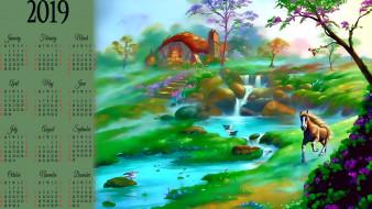 водопад, птица, водоем, дом, природа, конь, растение, calendar, 2019, лошадь