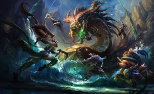 монстр, вода, скалы, герои, бой