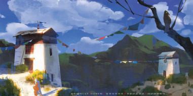 гора, здание, птица, дом, 2019, calendar, природа, улица