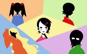 девочки, силуэты, лица