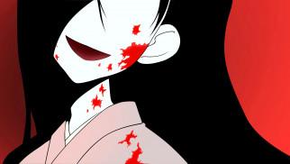 обои для рабочего стола 3000x1698 аниме, sayonara zetsubo sensei, кимоно, кровь, лицо, девочка