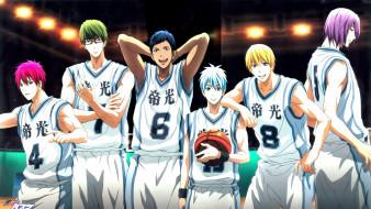 аниме, kuroko no baske, баскетбол, мяч, форма, парни