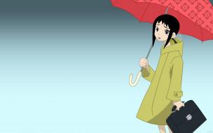 зонт, плащ, портфель, девочка