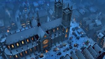 снег, здание, город, calendar, 2019