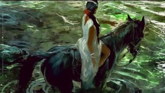 женщина, calendar, конь, водоем, лошадь, девушка, 2019