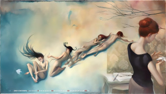 обнаженная, женщина, стол, профиль, девушка, calendar, 2019