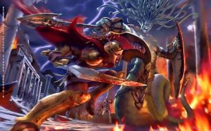 2019, битва, огонь, пламя, воин, существо, calendar, оружие, шлем