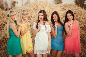 подруги, группа, фотосессия, блондинки, девушки