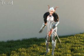 девушка, фон, взгляд, униформа, рога