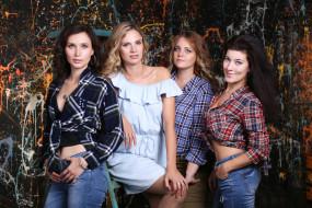 фотосессия, группа, девушки, позы, подруги