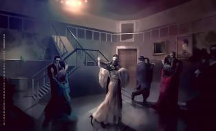 2019, calendar, девушка, мужчина, женщина, картина, помещение, танец, маска