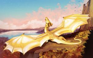 дракон, фон, крылья