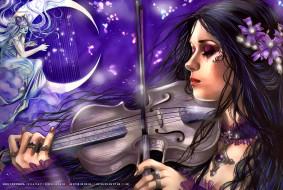 цветы, луна, calendar, 2019, скрипка, девушка
