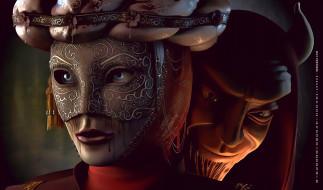 лицо, calendar, 2019, маска, рога, существо
