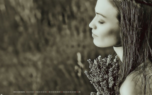 женщина, девушка, 2019, calendar, букет, растение, профиль, лицо