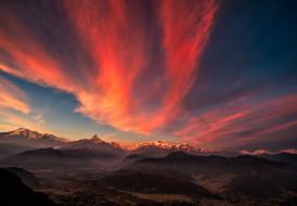 тибет, горы, природа, закат