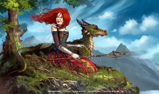 девушка, дракон, растение, calendar, 2019, гора