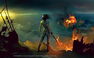 город, девушка, пламя, 2019, пожар, calendar, огонь