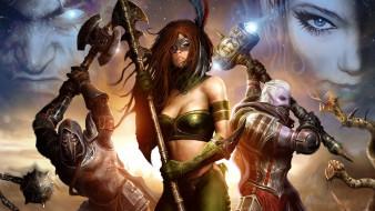 рыцарь, девушка, эльф, оружие, латы