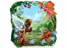 фея, крылья, 2019, calendar, улитка, цветы, существо