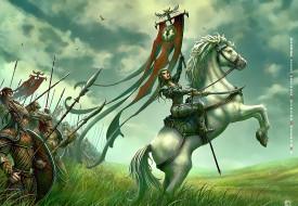 2019, calendar, конь, флаг, воительница, девушка, лошадь, войско