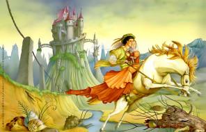 calendar, 2019, улитка, конь, девушка, мужчина, лошадь, замок