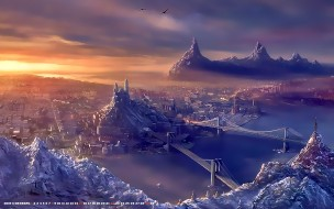 2019, город, мост, водоем, гора, панорама, calendar