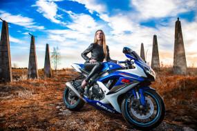 suzuki, мотоциклы, мото с девушкой, мотоцикл, девушка, модель, небо