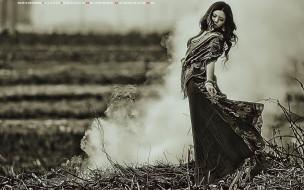 танец, женщина, девушка, дым, природа, calendar, 2019