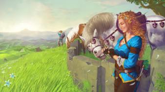 девушка, конь, фон, улыбка