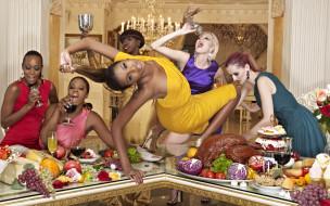 бокалы, стол, еда, пир, веселье