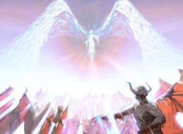 демон, девушка, фон, крылья