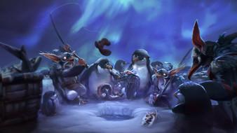 существа, пингвины, рыбалка, фон
