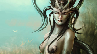 демонесса, девушка, рога