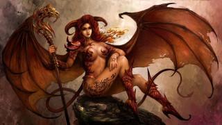 посох, хвост, крылья, камень, девушка, рога, демон