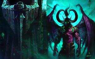 статуя, демон, рога, крылья