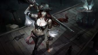 пират, ружье, существа, причал, бочка, девушка
